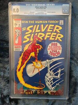 ONE DAY SALE!Silver Surfer #15 CGC 8.0 Volume #1, 1970 Unrestored FREE SHIPPING!