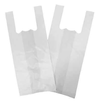 "100 X LARGE Strong WHITE Vest Carrier Bags 18Micron 11""x17""X21"""