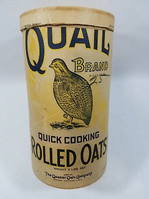 Antique Quail Brand rolled oats container / country store