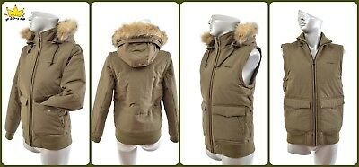CARHARTT Women Eco Fur Hooded 3 in 1 Khaki Winter Short Jacket Vest Sz S UK8 ad1d15fd52