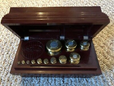 Vintage Ohaus 12-Piece Sto-A-Weigh Brass Weight Set - 1 g to 500 g - 1 kgTotal