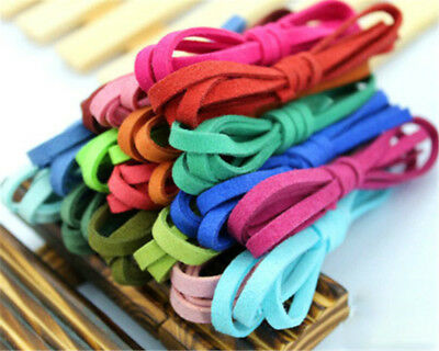 6Pcs 17color 1m Leather Cord Soft Suede Thong Lace Flat Rope Thread String Craft