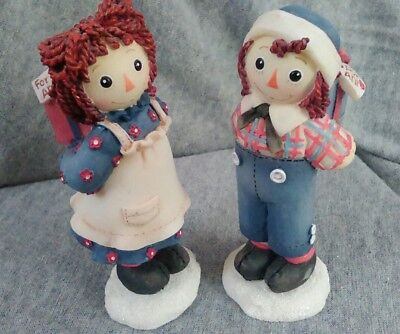 """""""Touch Somebody With a Little Love Today"""" Raggedy Ann & Andy Figurines"""