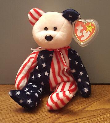 1999 Ty Beanie Baby SPANGLE the American Bear (pale red face), RETIRED, MWMT