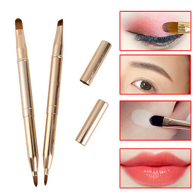 Double-headed Retractable Lip Brush Eye Liner Eyeshadow Eyebrow Brush SP