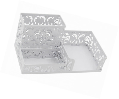EasyPAG 3 Compartment Office Desk Organizer, Hollow Flower Pattern, White