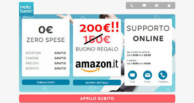 Buono Amazon 200€ Hellobank!