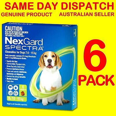 NexGard Spectra Green 7.6-15kg 6 PACK Flea, Tick, Heartworm, Intestinal Wormer