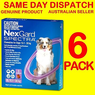 NexGard Spectra Purple 15.1-30kg 6 PACK Flea, Tick, Heartworm, Intestinal Wormer