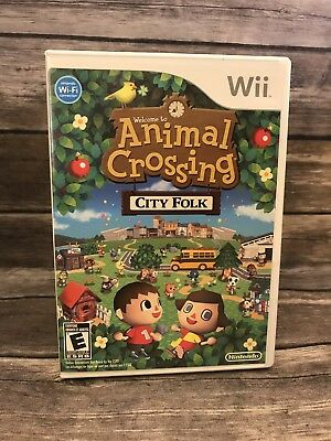 Welcome to Animal Crossing City Folk Nintendo Wii Complete CIB Manual Rated E