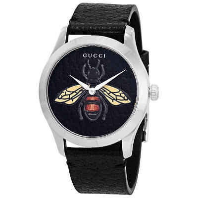 8ffbfe3f7d8 Gucci G-Timeless Black Dial with an Embroidered Honeybee Ladies Watch  YA1264067