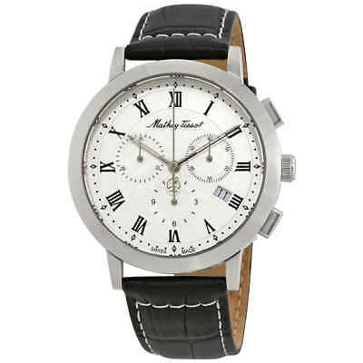 Mathey-Tissot Sport Classic White Dial Men's Chronograph Leather Watch