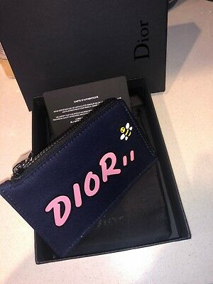 more photos e50d9 1e257 SOLD OUT DIOR x KAWS Men's Homme Navy Zipped Coin/Card Holder Bee SS19  Capsule