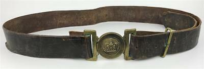 Antique 19thC Canadian Militia British Victorian Brass Buckle Crown Leather Belt