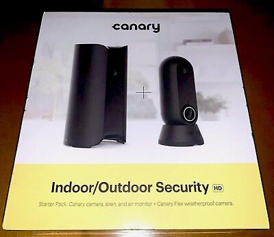 NEW Canary Starter Pack Indoor Outdoor Surveillance Camera, Black (CAN110USBK)