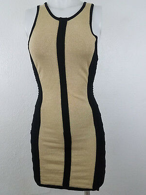 Forever 21 Black Gold Bodycon Bandage Stretch Mini Dress S Small