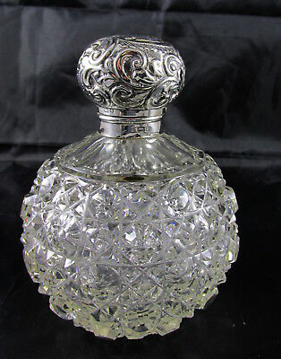 Antique English Sterling Silver Repousse Top Cut Glass Perfume Bottle Medium