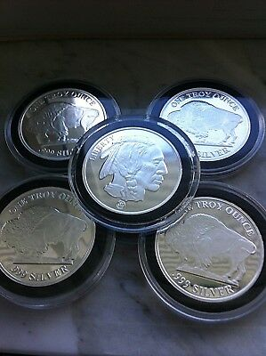 1 oz. SILVER ROUNDS - RMC Buffalo Design (LOT OF 5 IN AIRTITES) PROOFLIKE STRIKE