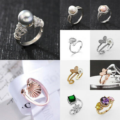 Fashion NEW Women Solid Rose Gold Stack Twisted Ring Wedding Party pearl Jewelry