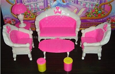Qiyun 7pcs Fashion Dressing Table And Chair Set For Barbies Dolls Bedroom