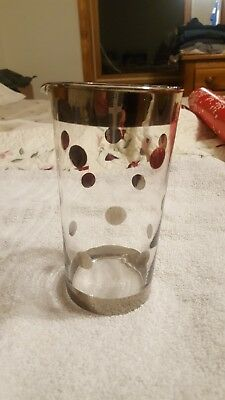 Glass Cup  With Silver Rim, Silver Polka Dots. Pourer, Bar Glass, Straw Holder