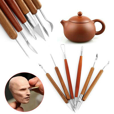 Wood Handle Pottery Tool Clay Sculpting Wax Carving Shapers Polymer Modeling