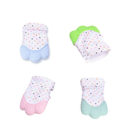 Baby Teething Gloves Adjustable Strap Candy Teether Pain Relief Molar Gum Gloves