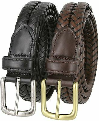 """Men's Genuine Leather Woven Braided Casual Dress Belt 1-1/4"""" Wide"""
