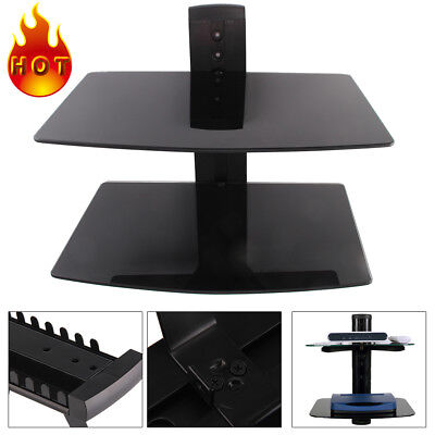 2 Wall Mount Shelf Floating Black Glass Bracket For Xbox PS4 Sky TV DVD Shelves