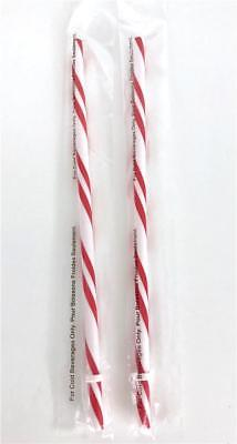 2 STARBUCKS Candy Cane Straws Holiday Red Striped Reusable Cold Drink NEW