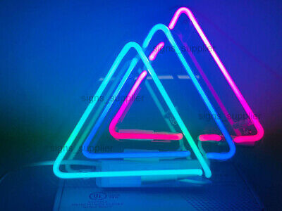 """New Triangles Real Glass Decor Poster Acrylic Neon Light Sign 10""""x10"""""""