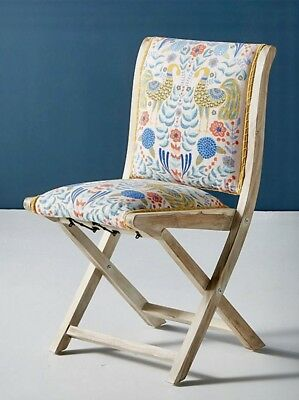 NEW Anthropologie Jimena Twin Peacocks Upholstery Terai Folding Chair