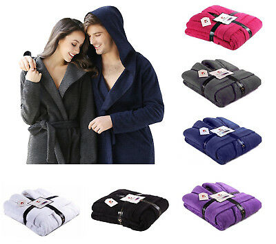 100% Luxury Egyptian Cotton Terry Towelling Hood Bath Robe Unisex Dressing Gown