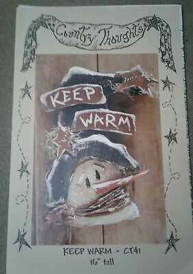 """COUNTRY THOUGHTS #CT41 """"Keep Warm"""" 16"""" Snowman - wood craft pattern AMERICANA"""
