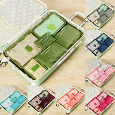 6Pcs Waterproof Travel Clothes Storage Bag Luggage Organizer Pouch Packing Cube