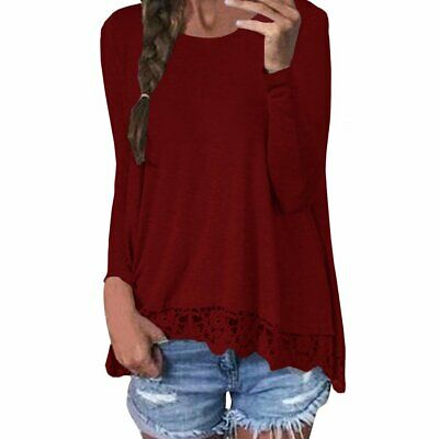 ISASSY Womens Casual Lace Long Sleeve Tops T-shirts Ladies Loose Cotton Blouses