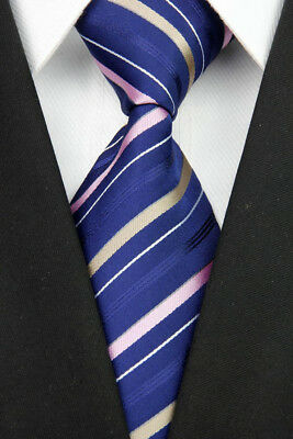 GL0090 Navy Pink Stripe Man Classic JACQUARD Woven Necktie Tie Formal New Z