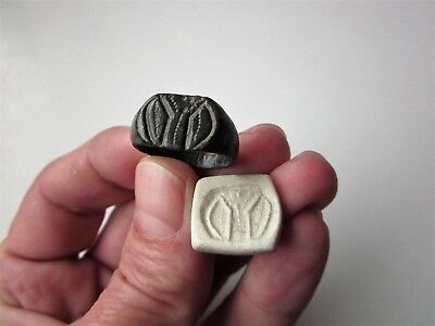 Ancient Roman bronze engraving ring seal-with stylized image of a Roman standard