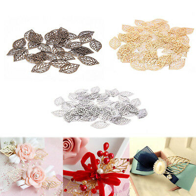 50pcs Gold Silver Bronze Filigree Hollow Leaves Pendant DIY Jewelry Making Hot