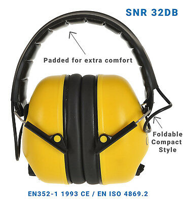 Folding Ear Defender Padded Head Band Builders Yellow Ear Muff SNR 32DB