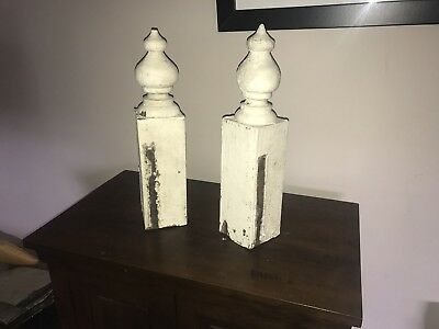 Antique Architectural Salvage Victorian Finial 1800s Wood Pair Gingerbread