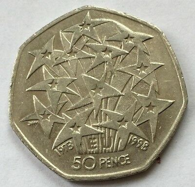 Rare Fifty Pence -European Union EU 25th Anniversary - 50p Fifty Pence coin 1998