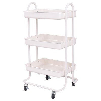 Dental Ivory 3-Tier Steel Cart