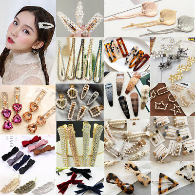 Women Crystal Pearl Hair Clip Snap Barrette Stick Hairpin Hair Accessories Gift