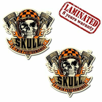 2 Vinyl Stickers Skull Pistons V-Twin Auto Motorcycle Motorbike Car Tuning B 38