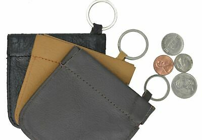 LEATHER Squeeze Facile Frame COIN CHANGE Pouch Purse Wallet Handmade