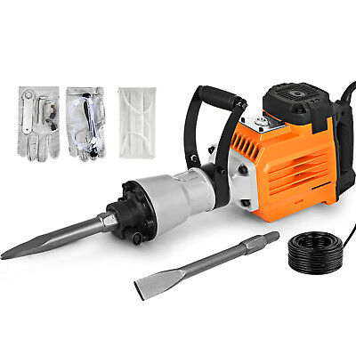 3600W Electric Demolition Jack Hammer Punch Drill Tool Point&Flat 2 Chisel Bits