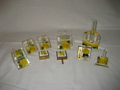 Lot Bircraft Yellow Rose Timer Cigarette Pill Box Thermometer Ring Business Card