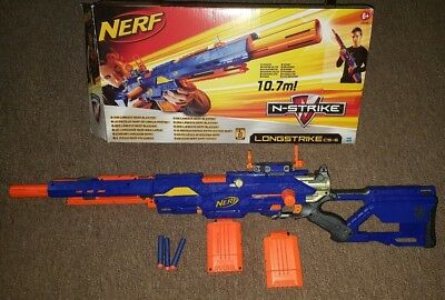NERF Longstrike CS-6 + 2 x Mags, Tactical sight gun and 12 bullets boxed