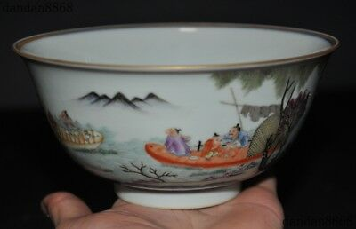 """6""""Old Chinese Wucai porcelain Gilt character statue dynasty palace Tea Cup Bowl"""